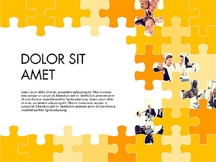 Yellow Puzzle Frame Presentation Concept, 03324, Puzzle Diagrams — PoweredTemplate.com