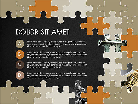 Yellow Puzzle Frame Presentation Concept, Slide 11, 03324, Puzzle Diagrams — PoweredTemplate.com