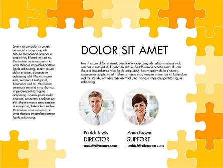 Yellow Puzzle Frame Presentation Concept, Slide 2, 03324, Puzzle Diagrams — PoweredTemplate.com