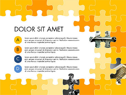 Yellow Puzzle Frame Presentation Concept, Slide 3, 03324, Puzzle Diagrams — PoweredTemplate.com