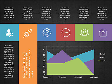 Grid Layout with Icons Presentation in Flat Design, Slide 15, 03333, Stage Diagrams — PoweredTemplate.com