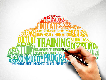 Training Word Cloud Presentation Concept, 03338, Education Charts and Diagrams — PoweredTemplate.com