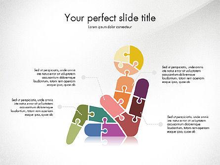 Shapes from Puzzle Pieces, Slide 2, 03344, Puzzle Diagrams — PoweredTemplate.com