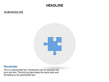 Circle and Puzzle Pieces Toolbox, Slide 3, 03370, Puzzle Diagrams — PoweredTemplate.com
