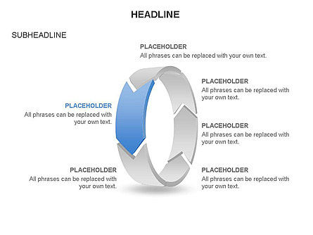 3D Circle Process Arrows Toolbox, Slide 6, 03408, Process Diagrams — PoweredTemplate.com