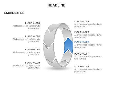 3D Circle Process Arrows Toolbox, Slide 9, 03408, Process Diagrams — PoweredTemplate.com