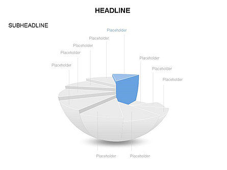 Spherical Staircase Pie Chart Toolbox, Slide 10, 03412, Pie Charts — PoweredTemplate.com
