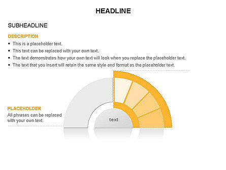 Staged Semicircle Diagram, Slide 16, 03416, Pie Charts — PoweredTemplate.com