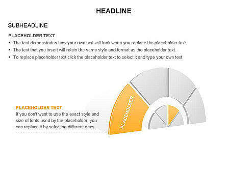 Staged Semicircle Diagram, Slide 25, 03416, Pie Charts — PoweredTemplate.com