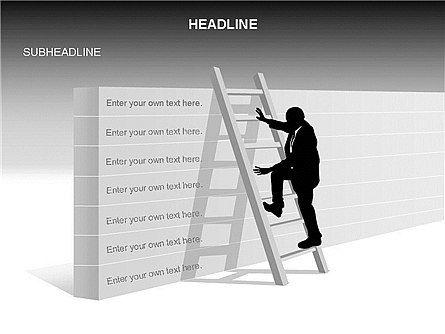Ladder on Wall, Slide 2, 03421, Business Models — PoweredTemplate.com