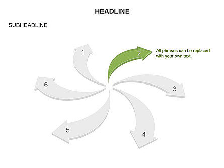 Curved Arrows Collection, Slide 14, 03452, Process Diagrams — PoweredTemplate.com