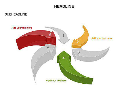 Curved Arrows Collection, Slide 21, 03452, Process Diagrams — PoweredTemplate.com
