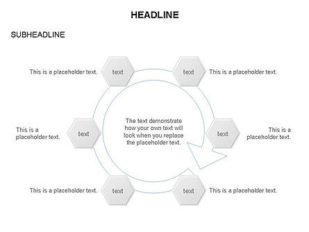 Interacting Hexagons Diagram, Slide 23, 03459, Business Models — PoweredTemplate.com