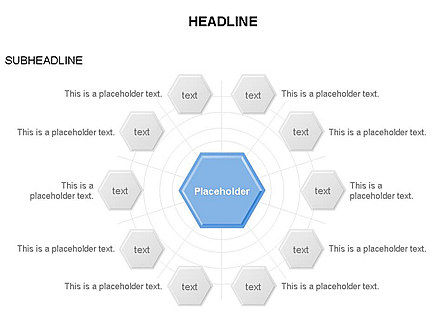 Interacting Hexagons Diagram, Slide 8, 03459, Business Models — PoweredTemplate.com