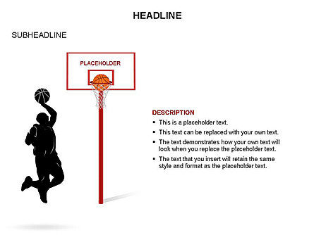 Basketball Shapes and Silhouettes, Slide 10, 03475, Silhouettes — PoweredTemplate.com