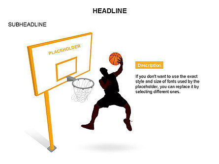 Basketball Shapes and Silhouettes, Slide 12, 03475, Silhouettes — PoweredTemplate.com