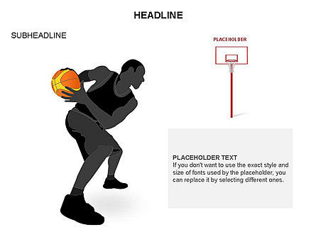 Basketball Shapes and Silhouettes, Slide 19, 03475, Silhouettes — PoweredTemplate.com