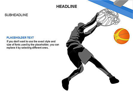 Basketball Shapes and Silhouettes, Slide 20, 03475, Silhouettes — PoweredTemplate.com