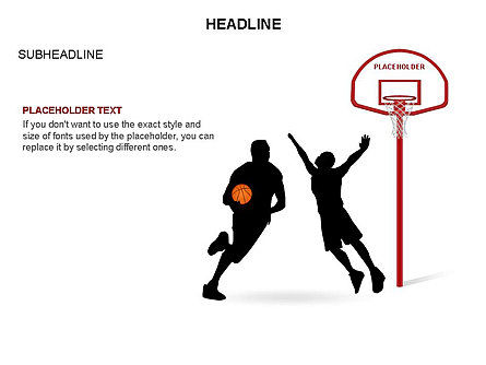 Basketball Shapes and Silhouettes, Slide 21, 03475, Silhouettes — PoweredTemplate.com
