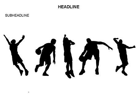 Basketball Shapes and Silhouettes, Slide 23, 03475, Silhouettes — PoweredTemplate.com