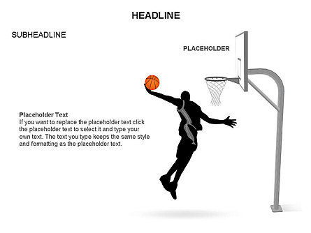 Basketball Shapes and Silhouettes, Slide 24, 03475, Silhouettes — PoweredTemplate.com