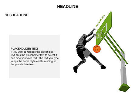 Basketball Shapes and Silhouettes, Slide 27, 03475, Silhouettes — PoweredTemplate.com