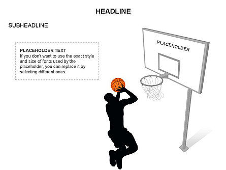 Basketball Shapes and Silhouettes, Slide 31, 03475, Silhouettes — PoweredTemplate.com