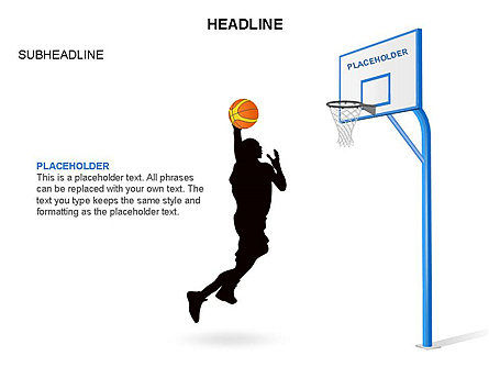 Basketball Shapes and Silhouettes, Slide 5, 03475, Silhouettes — PoweredTemplate.com