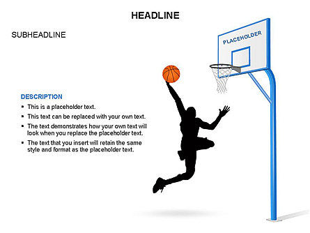 Basketball Shapes and Silhouettes, Slide 7, 03475, Silhouettes — PoweredTemplate.com