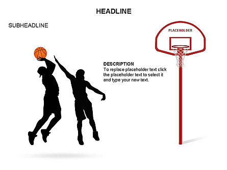 Basketball Shapes and Silhouettes, Slide 8, 03475, Silhouettes — PoweredTemplate.com