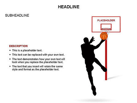 Basketball Shapes and Silhouettes, Slide 9, 03475, Silhouettes — PoweredTemplate.com