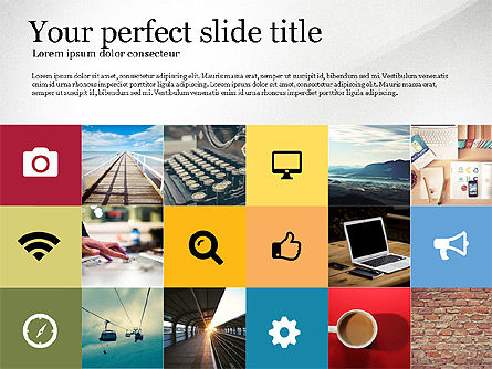 Grid Layout Colored Presentation Template, 03518, Presentation Templates — PoweredTemplate.com