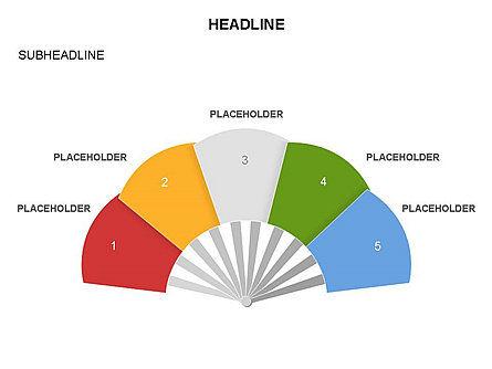 Hand Fan Diagram Set, Slide 3, 03546, Shapes — PoweredTemplate.com