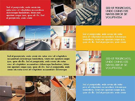 Grid Layout Flat Designed Presentation Template, 03705, Presentation Templates — PoweredTemplate.com