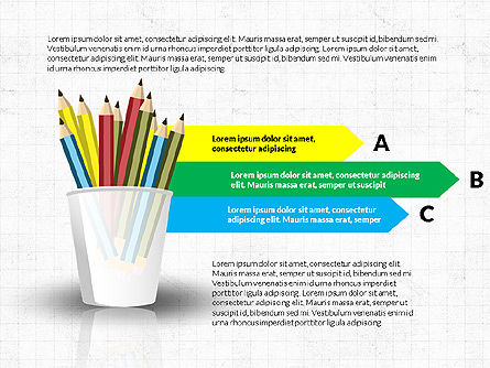 Glass with Colored Pencils, 03787, Infographics — PoweredTemplate.com