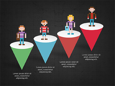 8bit People and Stages, Slide 11, 03856, Stage Diagrams — PoweredTemplate.com