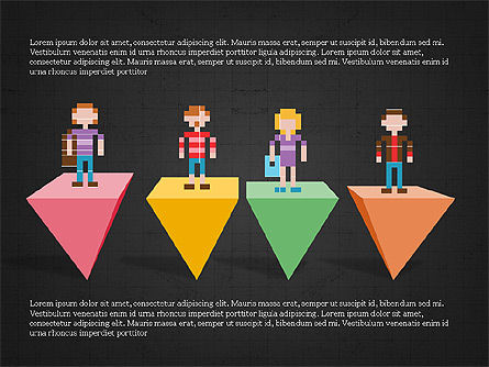 8bit People and Stages, Slide 13, 03856, Stage Diagrams — PoweredTemplate.com