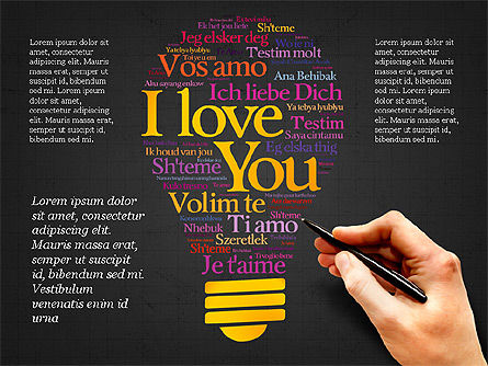 Bulb Word Cloud Presentation Deck, Slide 14, 03918, Presentation Templates — PoweredTemplate.com
