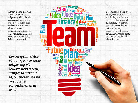 Bulb Word Cloud Presentation Deck, Slide 8, 03918, Presentation Templates — PoweredTemplate.com