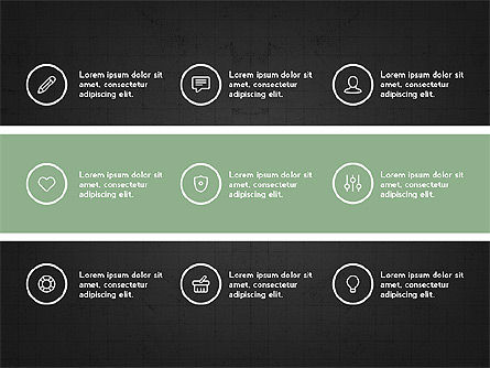 Trendy Presentation with Thin Icons, Slide 9, 03947, Presentation Templates — PoweredTemplate.com