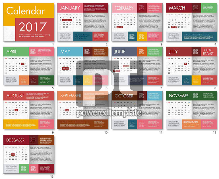 Calendar Design Powerpoint : Calendar in flat design for powerpoint presentations