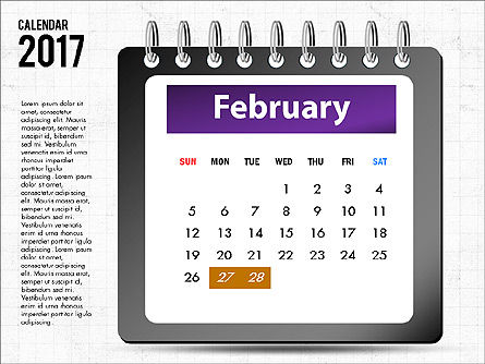 2017 Calendar, Slide 3, 04008, Timelines & Calendars — PoweredTemplate.com