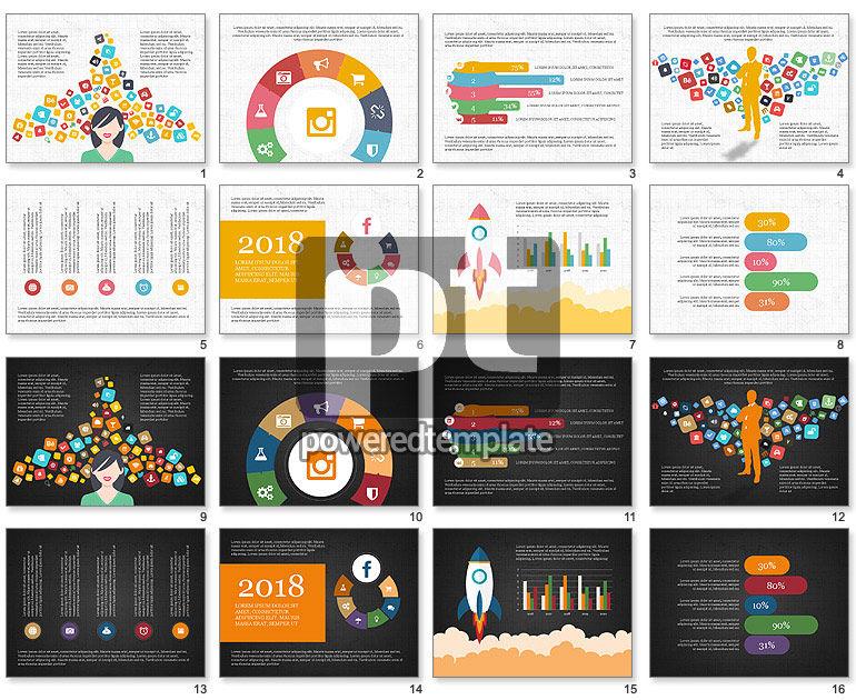 Social Media Flat Designed Presentation Concept