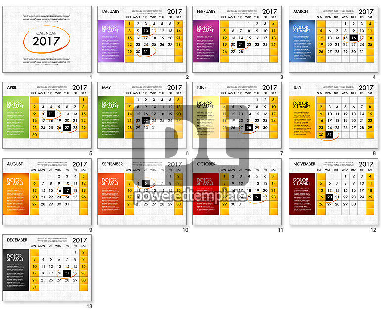 2017 calendar for powerpoint template for powerpoint presentations download now 04034. Black Bedroom Furniture Sets. Home Design Ideas