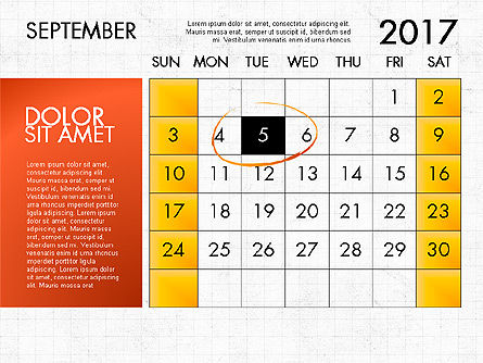 2017 Calendar for PowerPoint Template, Slide 10, 04034, Timelines & Calendars — PoweredTemplate.com