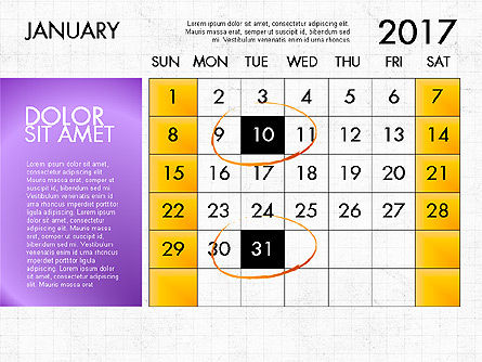 2017 Calendar For Powerpoint Template For Powerpoint Presentations