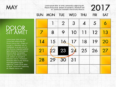 2017 Calendar for PowerPoint Template, Slide 6, 04034, Timelines & Calendars — PoweredTemplate.com
