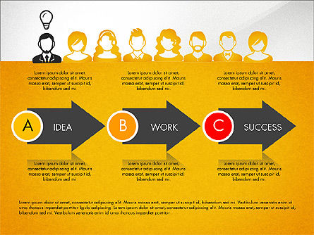Process Diagrams: Idea, Work, Success Presentation Concept #04045