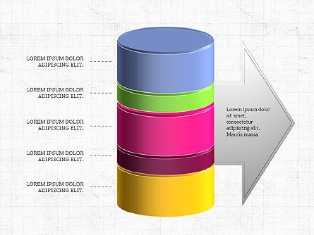 3D Stacked Cylinder Diagram, 04050, Business Models — PoweredTemplate.com