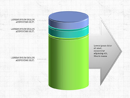 3D Stacked Cylinder Diagram, Slide 2, 04050, Business Models — PoweredTemplate.com